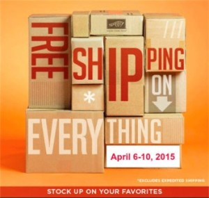 Free Shipping!  April 6th through April 10th